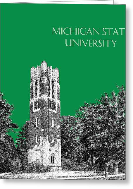College Room Greeting Cards - Michigan State University - Forest Green Greeting Card by DB Artist