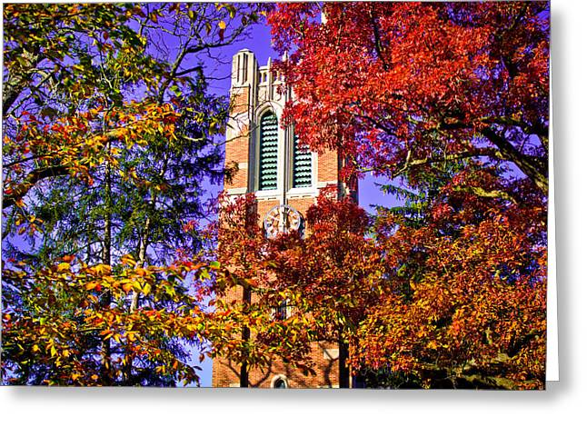 Color Change Greeting Cards - Michigan State University Beaumont Tower Greeting Card by John McGraw