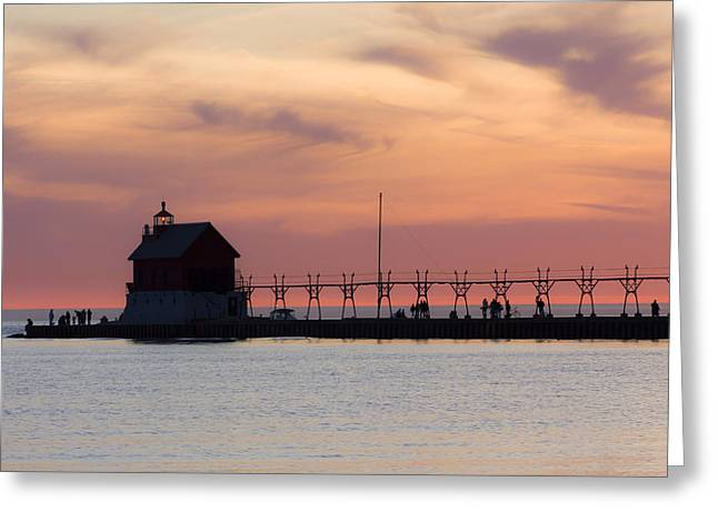 Breakwater Greeting Cards - Michigan Sunset Greeting Card by Adam Romanowicz