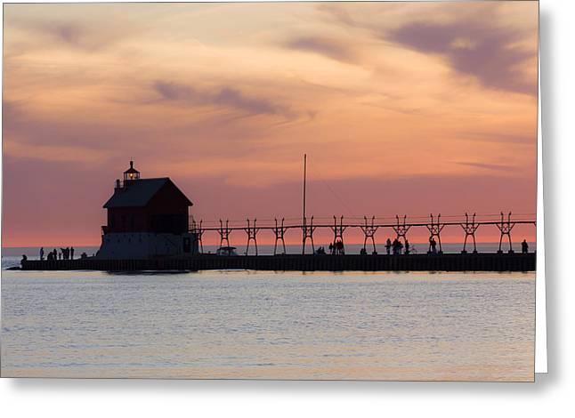 Pure Michigan Greeting Cards - Michigan Sunset Greeting Card by Adam Romanowicz