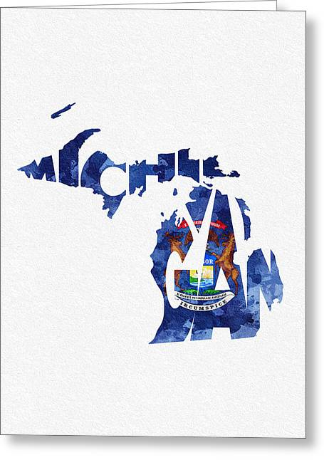 Bizarre Mixed Media Greeting Cards - Michigan Typographic Map Flag Greeting Card by Ayse Deniz