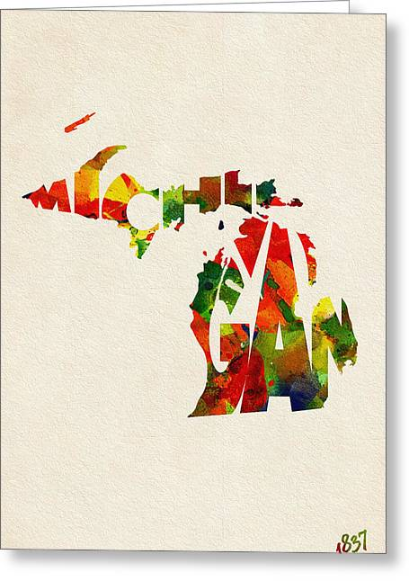 Homeland Greeting Cards - Michigan Typographic Watercolor Map Greeting Card by Ayse Deniz
