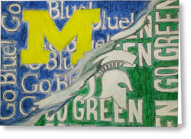 Basketball Pastels Greeting Cards - Michigan vs Michigan State Greeting Card by Tyrone Scott
