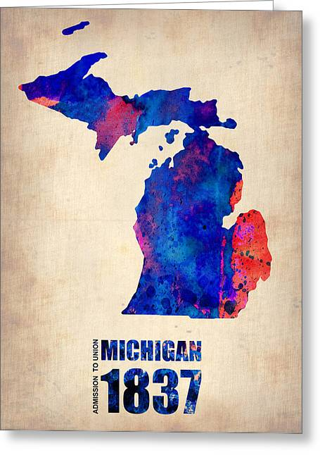 Michigan State Greeting Cards - Michigan Watercolor Map Greeting Card by Naxart Studio