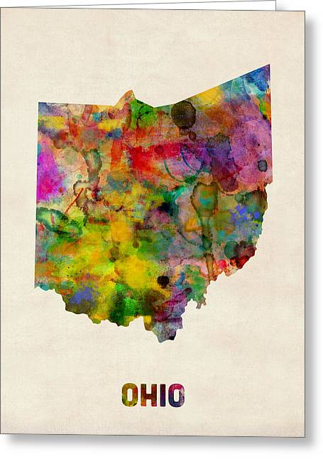 Columbus Greeting Cards - Ohio Watercolor Map Greeting Card by Michael Tompsett