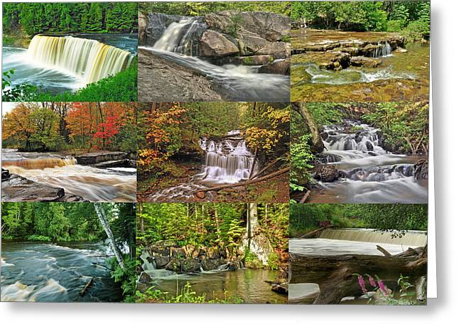 Yellow Dog Greeting Cards - Michigan Waterfall Collection 1 Greeting Card by Michael Peychich