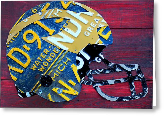 College Football Greeting Cards - Michigan Wolverines College Football Helmet Vintage License Plate Art Greeting Card by Design Turnpike