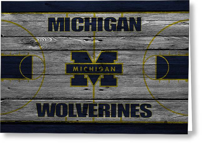 Division Greeting Cards - Michigan Wolverines Greeting Card by Joe Hamilton