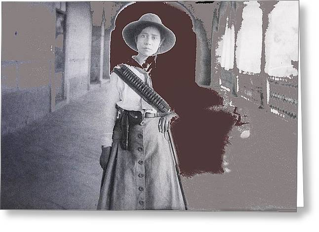 Mexican Fighters Greeting Cards - Michoacan lady Mexican fighter 1921-2014.  Greeting Card by David Lee Guss