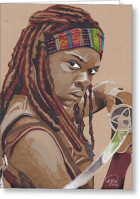 Andrew Michael Greeting Cards - Michonne Greeting Card by Kyle Willis