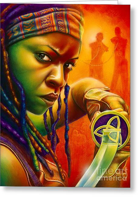 Framed Print Greeting Cards - Michonne Greeting Card by Scott Spillman