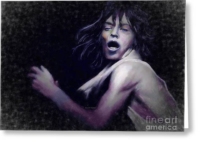 Rolling Stones Pastels Greeting Cards - Mick Greeting Card by Angela A Stanton