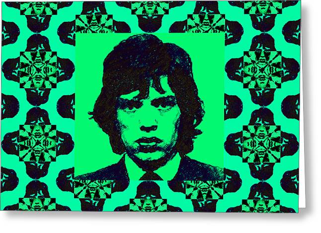 Alcatraz Greeting Cards - Mick Jagger Abstract Window p128 Greeting Card by Wingsdomain Art and Photography
