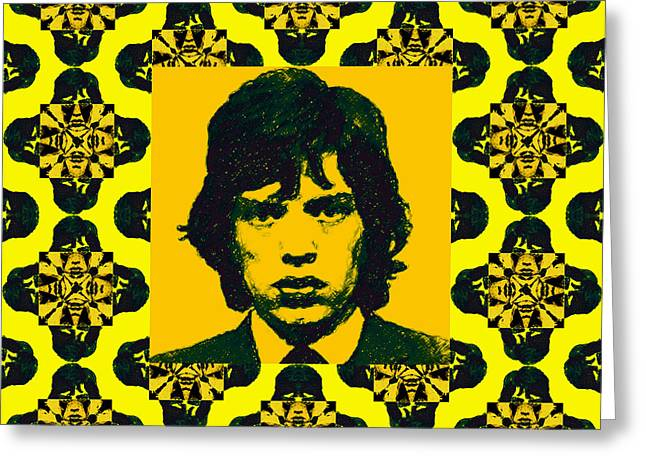 Mick Jagger Portrait Greeting Cards - Mick Jagger Abstract Window p28 Greeting Card by Wingsdomain Art and Photography