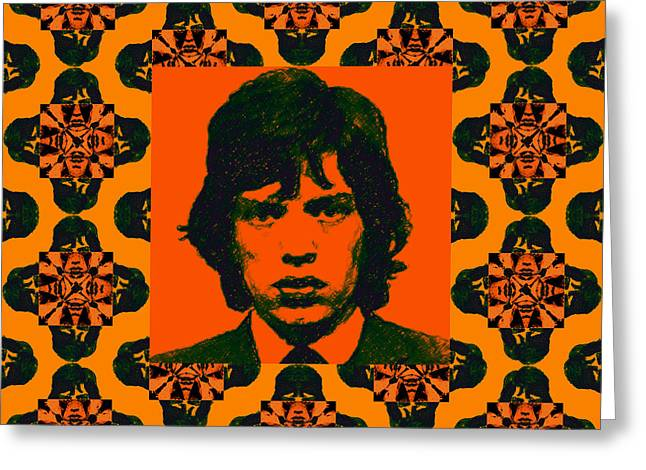 Alcatraz Greeting Cards - Mick Jagger Abstract Window Greeting Card by Wingsdomain Art and Photography