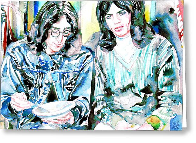 John Lennon Images Greeting Cards - MICK JAGGER and JOHN LENNON eating watercolor portrait Greeting Card by Fabrizio Cassetta