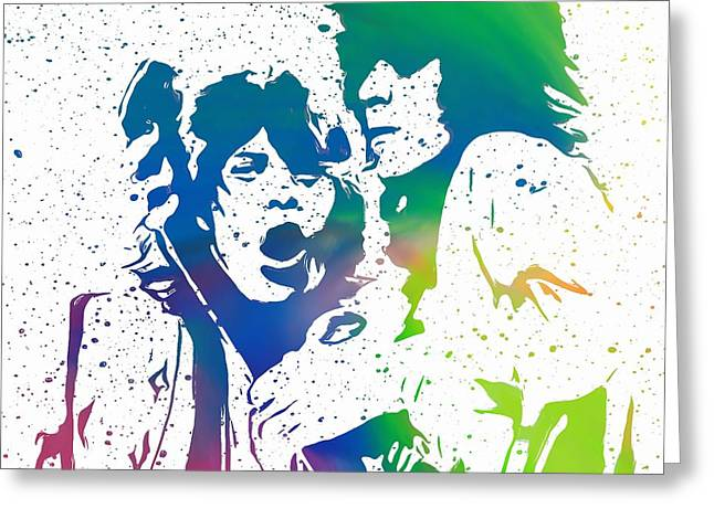 Mick Jagger And Keith Richards Greeting Card by Dan Sproul