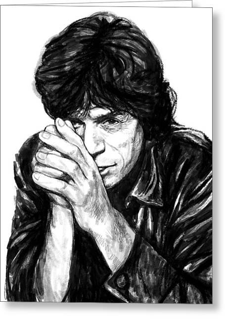 Mick Jagger Portrait Greeting Cards - Mick Jagger art drawing sketch portrait Greeting Card by Kim Wang