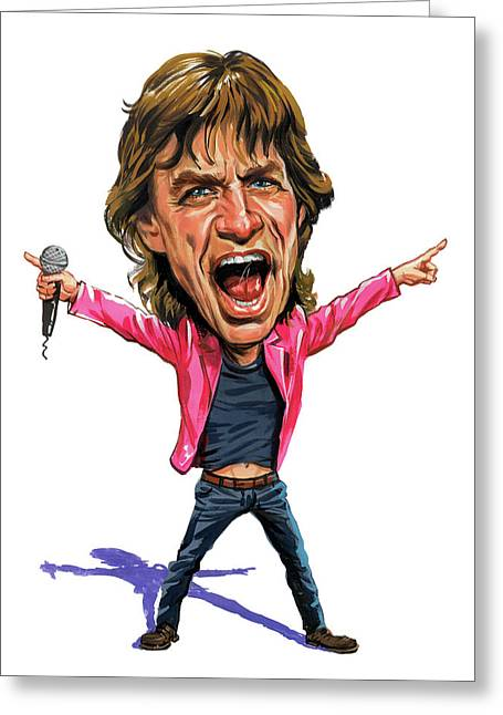 Art Glass Greeting Cards - Mick Jagger Greeting Card by Art