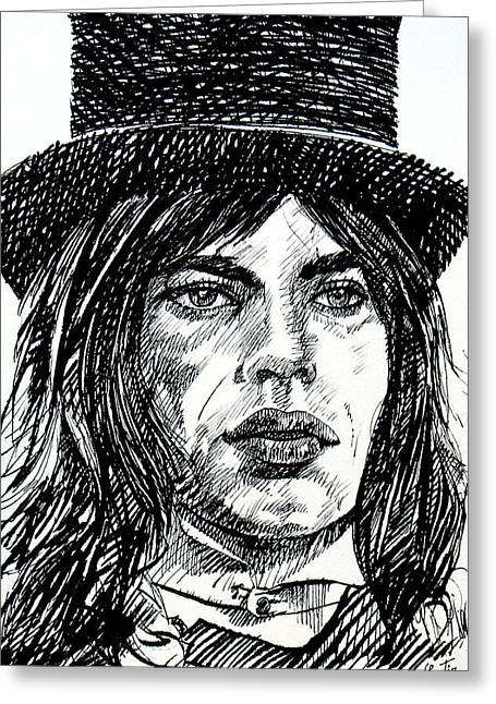 Mick Jagger Paintings Greeting Cards - MICK JAGGER black ink portrait Greeting Card by Fabrizio Cassetta