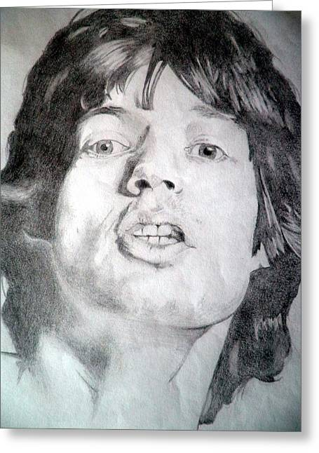 Mick Jagger And Keith Richards Greeting Cards - Mick Jagger - Large Greeting Card by Robert Lance