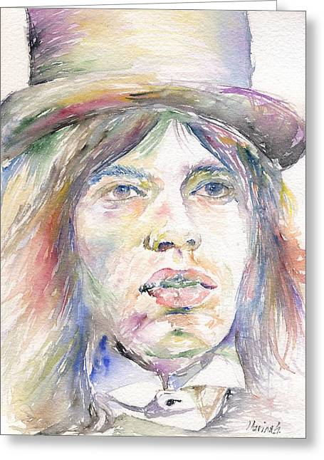 Led Zeppelin Greeting Cards Greeting Cards - Mick Jagger Greeting Card by Marina Sotiriou