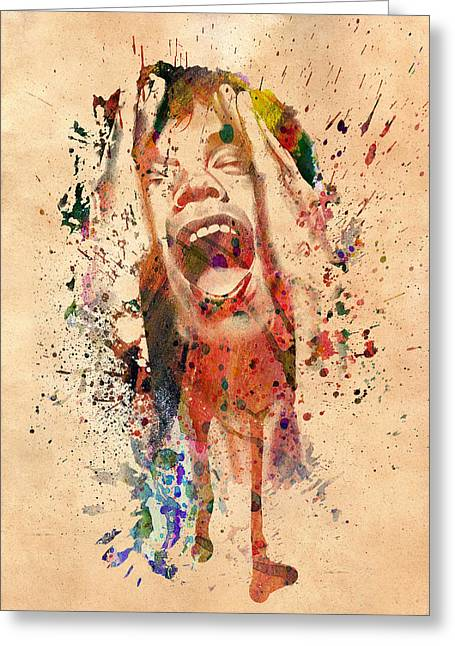 80s Pop Music Greeting Cards - Mick Jagger Greeting Card by Mark Ashkenazi