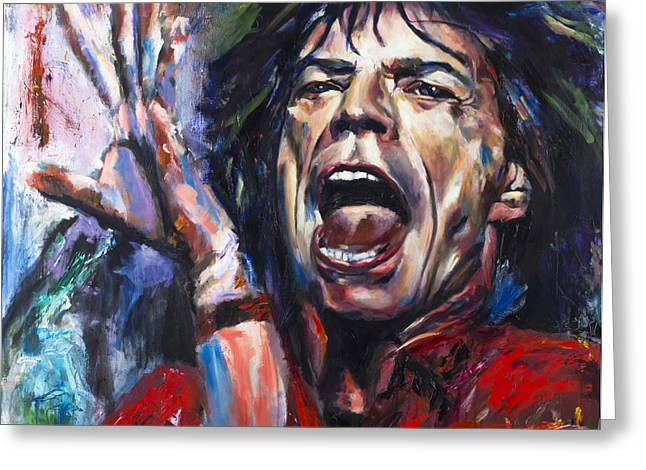 Jagger Greeting Cards - Mick Jagger Greeting Card by Mark Courage