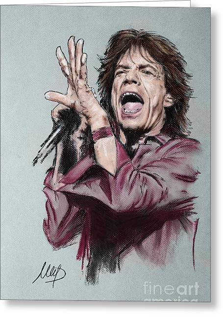Stones Greeting Cards - Mick Jagger Greeting Card by Melanie D