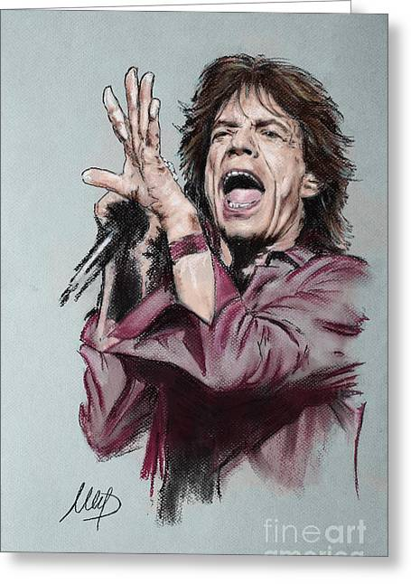 Stones Pastels Greeting Cards - Mick Jagger Greeting Card by Melanie D
