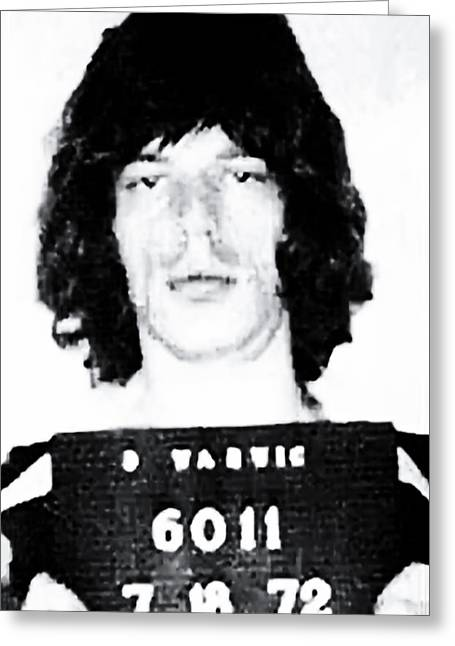 Rolling Stones Greeting Cards - Mick Jagger Mugshot 1972 Greeting Card by Digital Reproductions