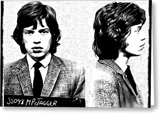Rolling Stones Digital Art Greeting Cards - Mick Jagger Mugshot in Black and White Greeting Card by Bill Cannon