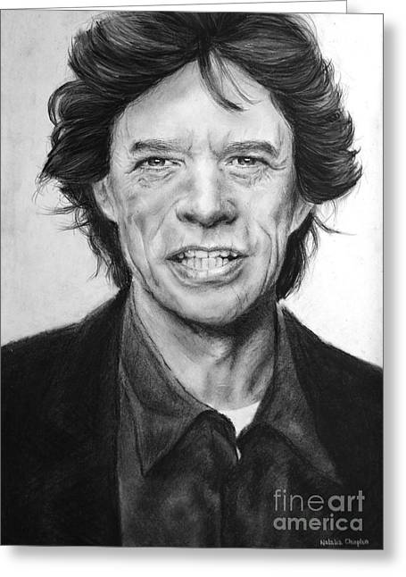 Graphite Pastels Greeting Cards - Mick Jagger Greeting Card by Natalia Chaplin