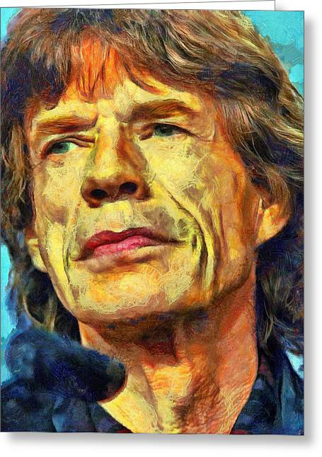 Lucent Dreaming Greeting Cards - Mick Jagger Greeting Card by Nikola Durdevic