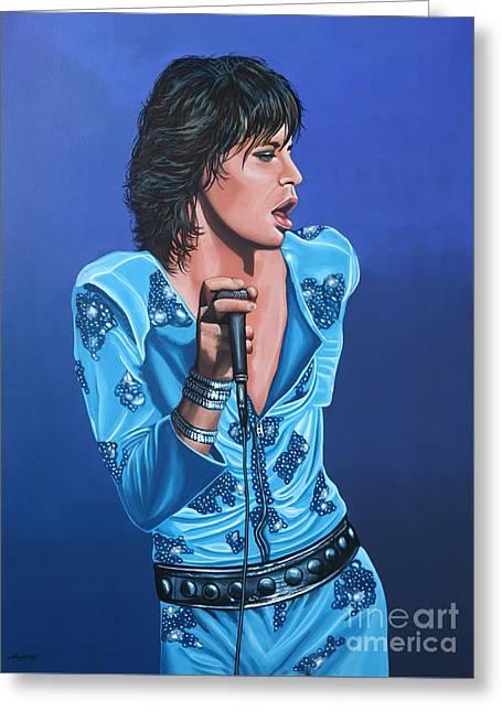 Exiles Greeting Cards - Mick Jagger Greeting Card by Paul  Meijering