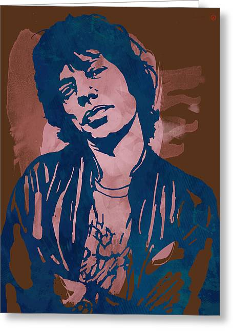 Have Greeting Cards - Mick Jagger - Pop Stylised Art Sketch Poster Greeting Card by Kim Wang