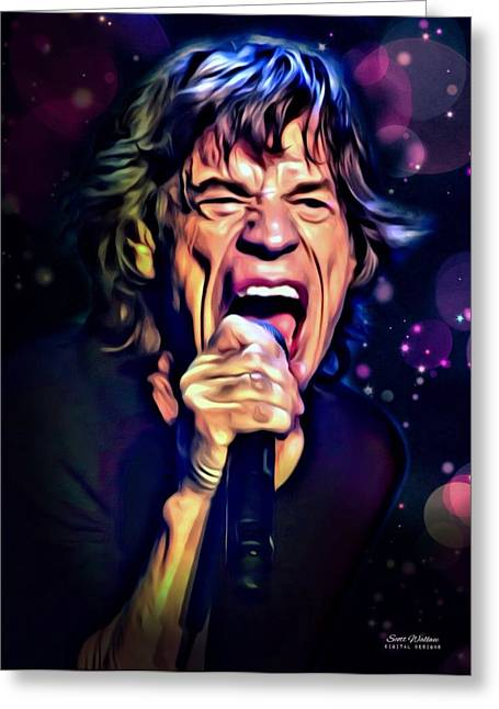 Digital Designs Greeting Cards - Mick Jagger Portrait Greeting Card by Scott Wallace