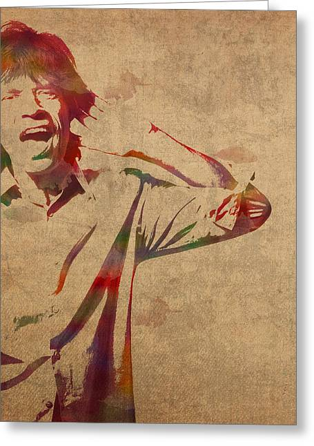 Mick Jagger Greeting Cards - Mick Jagger Rolling Stones Watercolor Portrait On Worn Distressed Canvas Greeting Card by Design Turnpike