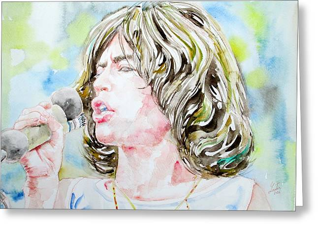 Rolling Stones Greeting Cards - MICK JAGGER SINGING watercolor portrait Greeting Card by Fabrizio Cassetta