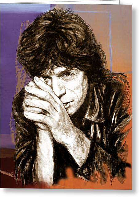 Featured Mixed Media Greeting Cards - Mick Jagger - stylised pop art drawing potrait poser Greeting Card by Kim Wang
