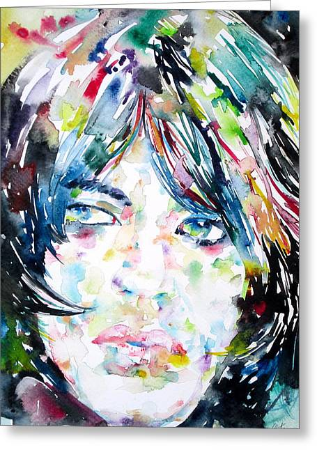 Rolling Stones Greeting Cards - MICK JAGGER - watercolor portrait.1 Greeting Card by Fabrizio Cassetta