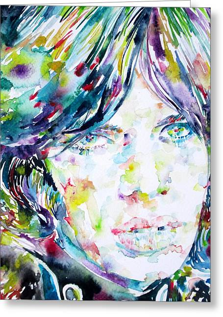 Rolling Stones Greeting Cards - MICK JAGGER - watercolor portrait.2 Greeting Card by Fabrizio Cassetta