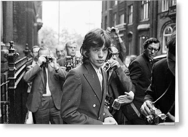 1970s Fashion Greeting Cards - Mick Jagger with the Paparazzi  Greeting Card by Nomad Art And  Design
