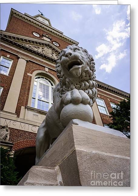 University Of Cincinnati Greeting Cards - Mick Lion at McMicken Hall University of Cincinnati  Greeting Card by Paul Velgos