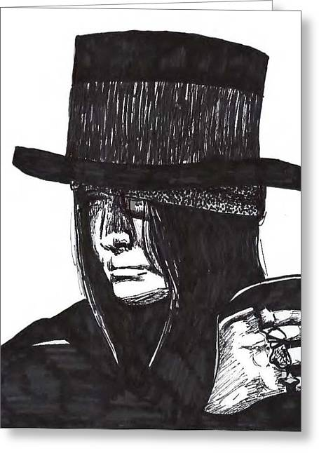 Vince Drawings Greeting Cards - Mick Greeting Card by Michelle Kinzler