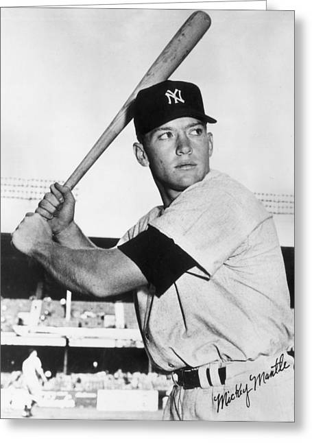 League Greeting Cards - Mickey Mantle at-bat Greeting Card by Gianfranco Weiss