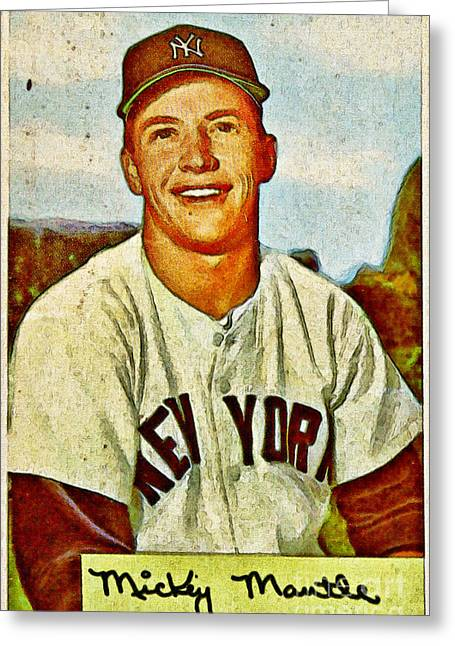 Rbi Greeting Cards - Mickey Mantle Baseball Card Greeting Card by Kerry Gergen