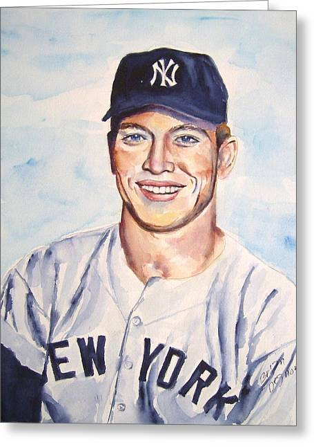 Mickey Mantle Portrait Greeting Cards - Mickey Mantle Greeting Card by Brian Degnon