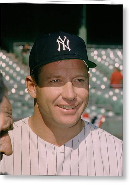 Mvp Photographs Greeting Cards - Mickey Mantle Famous Smile Greeting Card by Retro Images Archive