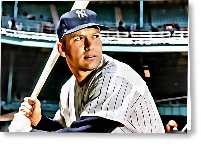 Mickey Mantle Portrait Greeting Cards - Mickey Mantle Greeting Card by Florian Rodarte